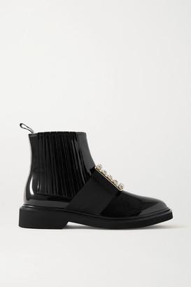 Roger Vivier Viv Ranger Crystal-embellished Patent-leather Chelsea Boots - Black