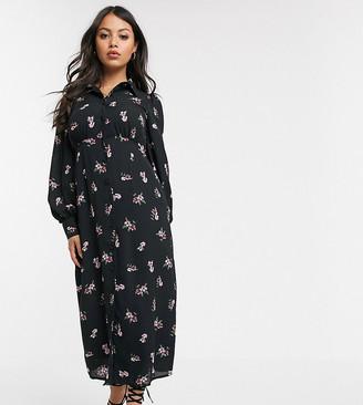 Fashion Union Petite midi tea dress in black floral
