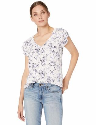 Nine West Women's Plus Size Pebble Bubble Crepe Short Sleeve Printed V-Neck Blouse