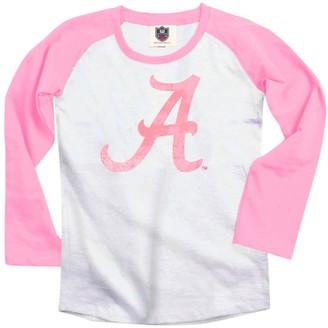 Unbranded Alabama Crimson Tide Youth Girls Raglan T-Shirt - Pink/White