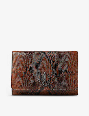Jimmy Choo Varenne snakeskin-embossed leather clutch bag