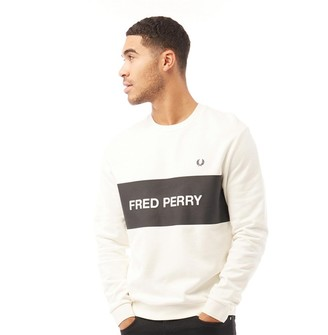 Fred Perry Mens Chest Panel Sweatshirt Snow White