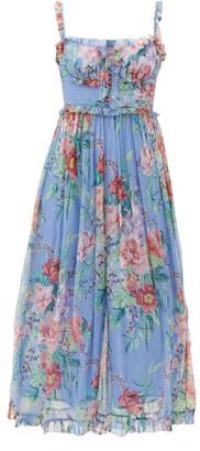 Zimmermann Bellitude Floral-print Silk-chiffon Midi Jumpsuit - Blue Print