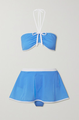 Miguelina Dory Polka-dot Halterneck Bikini - Blue