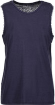 Majestic Frayed wool-trimmed cotton and cashmere-blend tank