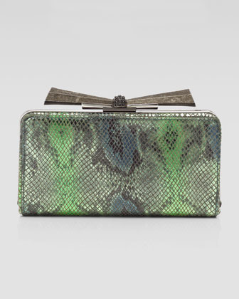 Judith Leiber Overture Carrie Snake-Embossed Leather Clutch Bag, Green