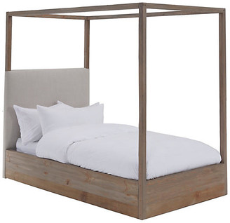 Canopy Kids' Bed - Ivory Linen - Community - frame, natural; upholstery, ivory