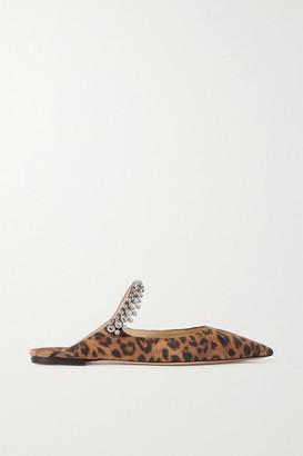 Jimmy Choo Bing Crystal-embellished Leopard-print Suede Point-toe Flats - Brown
