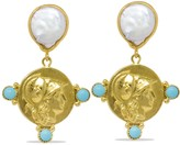 Athena Vintouch Italy Pearl & Turquoise Drop Earrings