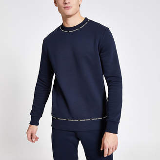 River Island Maison Riviera navy tape slim fit sweatshirt