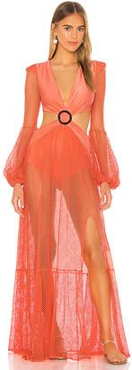 PatBO Long Sleeve Mesh Beach Dress