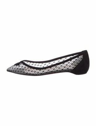 Christian Louboutin Lace Pattern Cutout Accent Ballet Flats Black