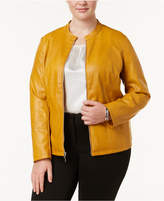 Alfani Plus Size Stand-Collar Faux-Leather Jacket, Created for Macy's