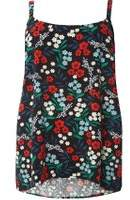 Dorothy Perkins Womens **Juna Rose Curve Floral Print Camisole Top- Black