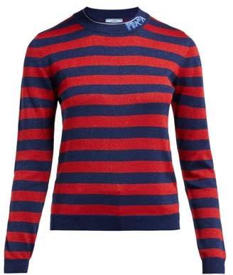 Prada Logo-intarsia Metallic Striped Sweater - Womens - Red Multi
