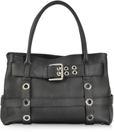 Buti Black Leather Shoulder Bag w/Buckle