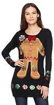 Blizzard Bay Women's L/s Crew Neck Tunic W/Gingerbread Applique