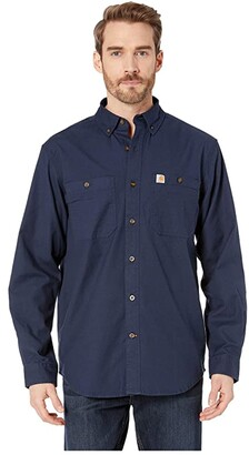 Carhartt Rugged Flex(r) Rigby Long Sleeve Work Shirt (Navy) Men's Long Sleeve Button Up