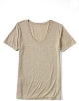 Lands' End Women's Petite Relaxed Slub Jersey V-neck T-shirt-Desert Khaki Heather