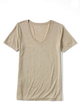 Lands' End Women's Relaxed Slub Jersey V-Neck T-shirt-Radiant Navy/Ivory Snowballs