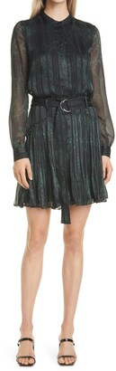 Reiss Gillian Snake Print Long Sleeve Dress
