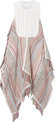J.W.Anderson Crocheted Lace And Poplin-trimmed Striped Cotton-blend Gauze Dress