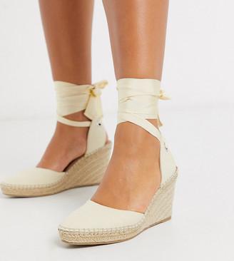 Asos Design DESIGN Wide Fit Time tie leg espadrille wedges in natural