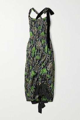 Meryll Rogge Asymmetric Velvet-trimmed Metallic Cloque-jacquard Dress - Black