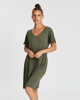 Gap V-Neck Flutter Sleeve Drawstring Dress