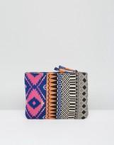 Asos BEACH Geo-Tribal Fabric Weave Clutch Bag