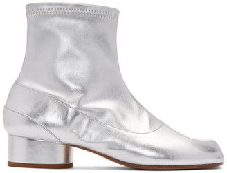 Maison Margiela Silver Stretch Leather Tabi Ankle Boots