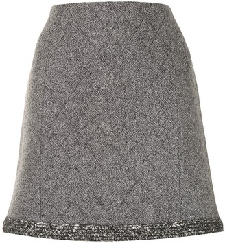 Paule Ka Diamond-Quilt Tweed Mini Skirt