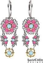 European Chic .925 Sterling Silver and 24K Yellow Gold over .925 Sterling Silver Chandelier Earrings Designed by Lucia Costin with Filigree Ornaments, Pink and Light Blue Swarovski Crystals, Adorned with Leaves and Flowers