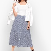 Talbots Tiered Button Front Skirt - Floral Vine Print