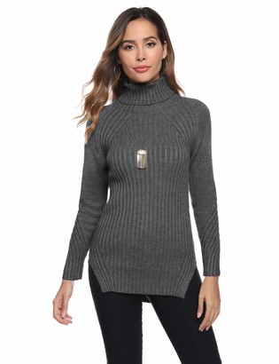 Abollria Women Roll Polo Neck Long Sleeve Cable Knit Ribbed Sweater Jumper Knitwear Top Grey