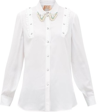 No.21 No. 21 - Crystal And Faux-pearl Embellished Crepe Shirt - Womens - White