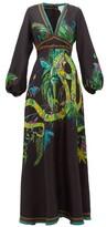 Camilla River Cruise Silk-satin Maxi Dress - Womens - Black Print