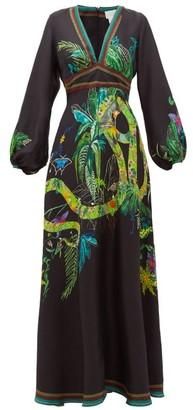 Camilla River Cruise Silk-satin Maxi Dress - Black Print