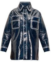 Fendi Contrast-stitching Patent-leather Coat - Womens - Blue Multi