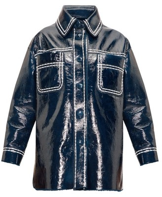 Fendi Contrast-stitching Patent-leather Coat - Blue Multi