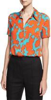 Diane von Furstenberg Short-Sleeve Collared Cossier Print Shirt