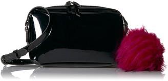 The Fix Alexa Metallic Small Crossbody Bag with Faux Fur Pom Black/Metallic Pink Pom One Size
