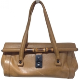 Gucci Brown Leather Bamboo Bullet Satchel