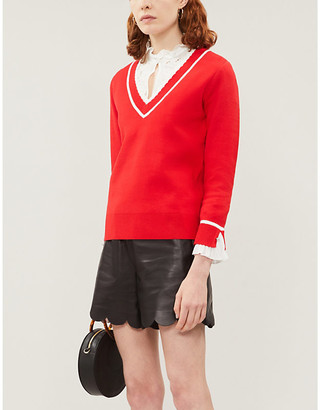 Claudie Pierlot Makyh chiffon frilled-cuff stretch-knit jumper