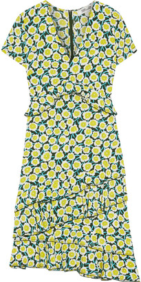 Diane von Furstenberg Glenys Asymmetric Ruffled Floral-print Silk Crepe De Chine Dress