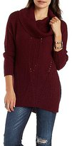 Charlotte Russe Mixed Stitch Cowl Neck Sweater with Cut-Out
