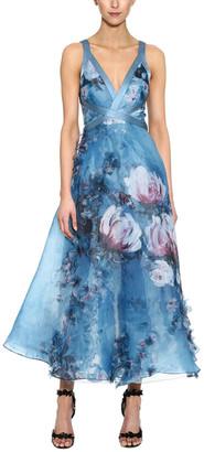 Marchesa Notte 3D Floral Print Gown