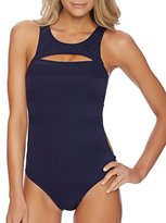 Nautica Women's Ocean Isle Removable Soft Cup High Neck One Piece Swimsuit