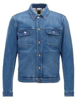 BOSS Hugo Slim-fit denim jacket embroidery detail S Blue