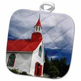 "3D Rose Quebec-Petite Chappelle-Wooden Church-Cn10 Cmi0415-Cindy Miller Hopkins Pot Holder, 8"" x 8"""